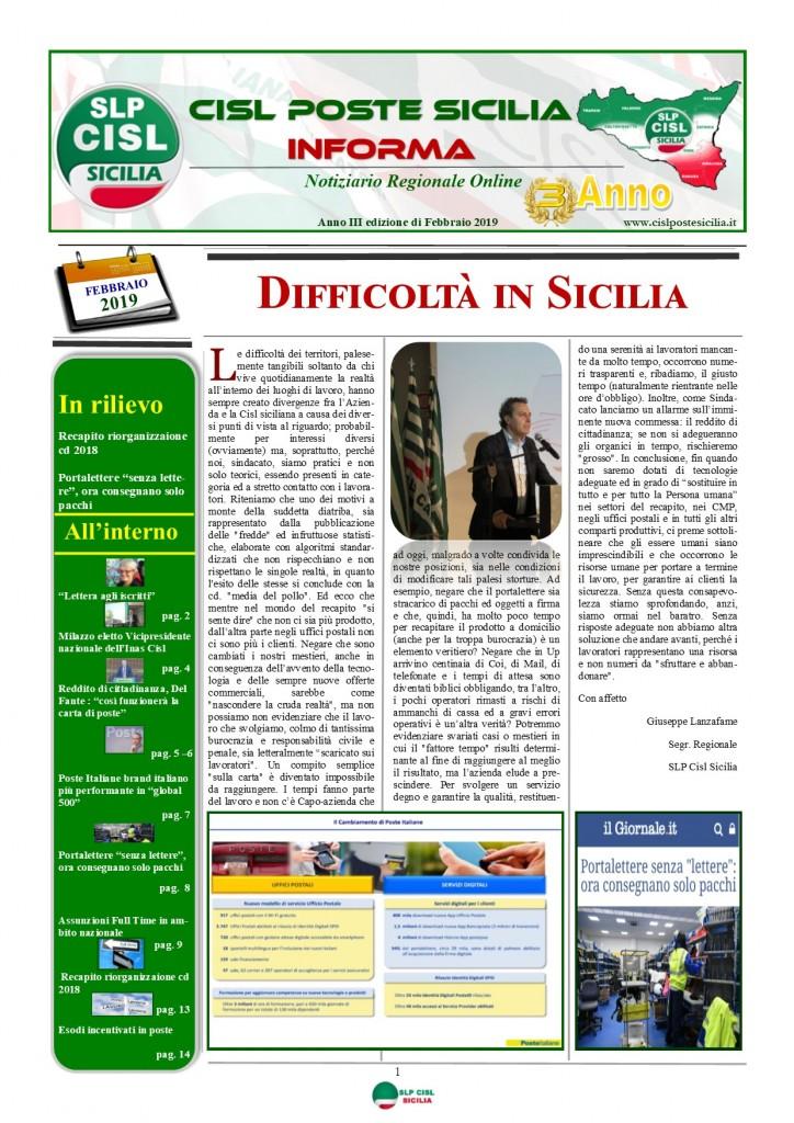 Cisl Poste Sicilia Informa Febbraio 2019