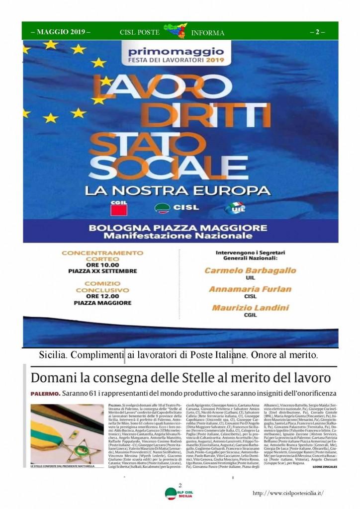 Cisl Poste Sicilia Informa maggio 2019_Pagina_02