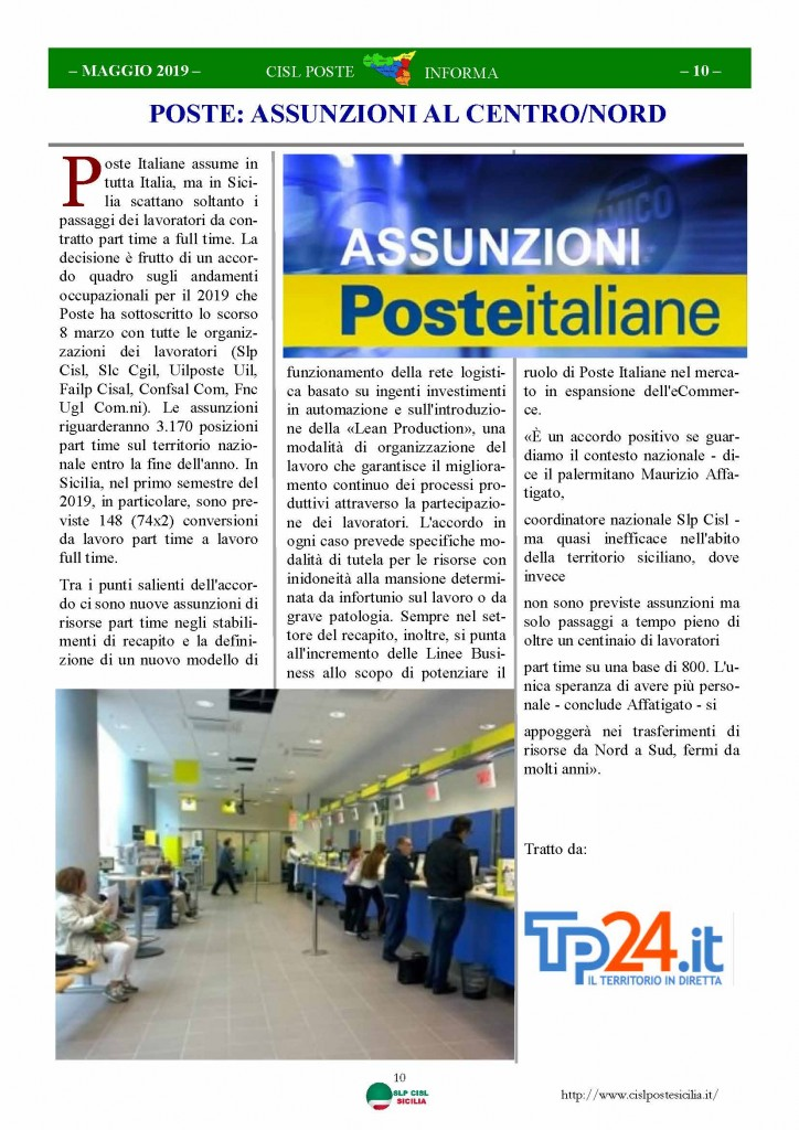 Cisl Poste Sicilia Informa maggio 2019_Pagina_10