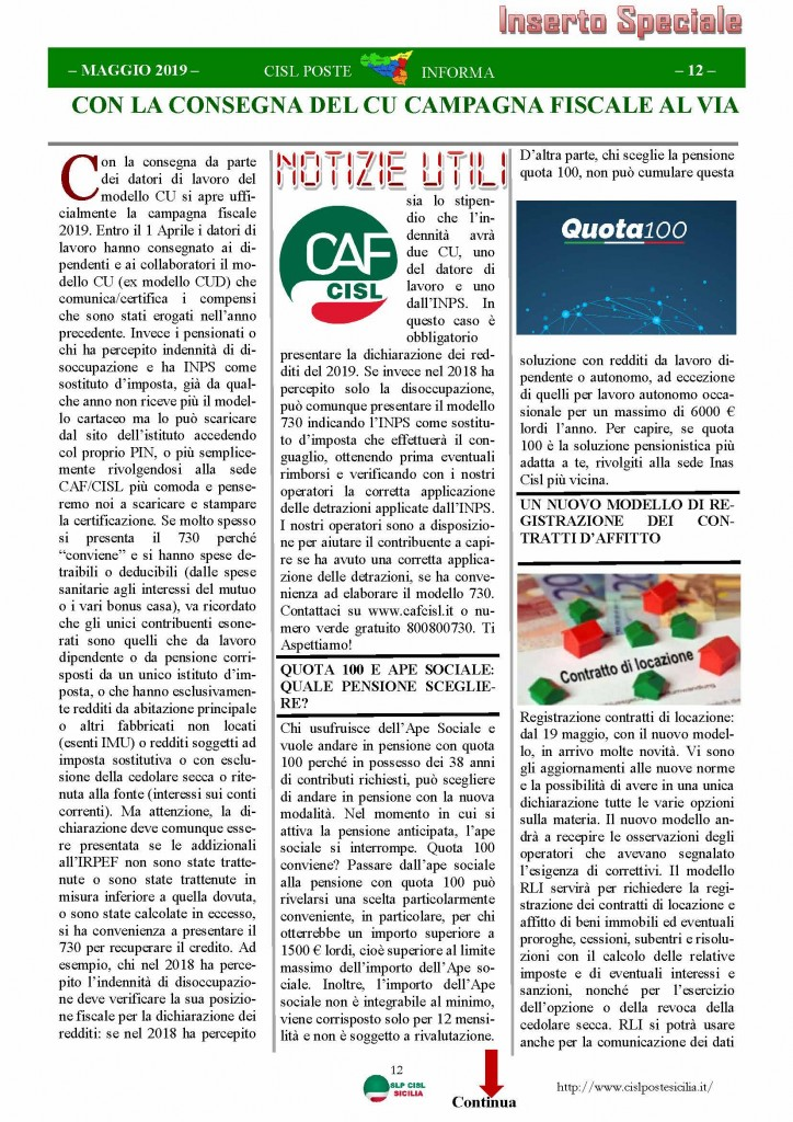 Cisl Poste Sicilia Informa maggio 2019_Pagina_12
