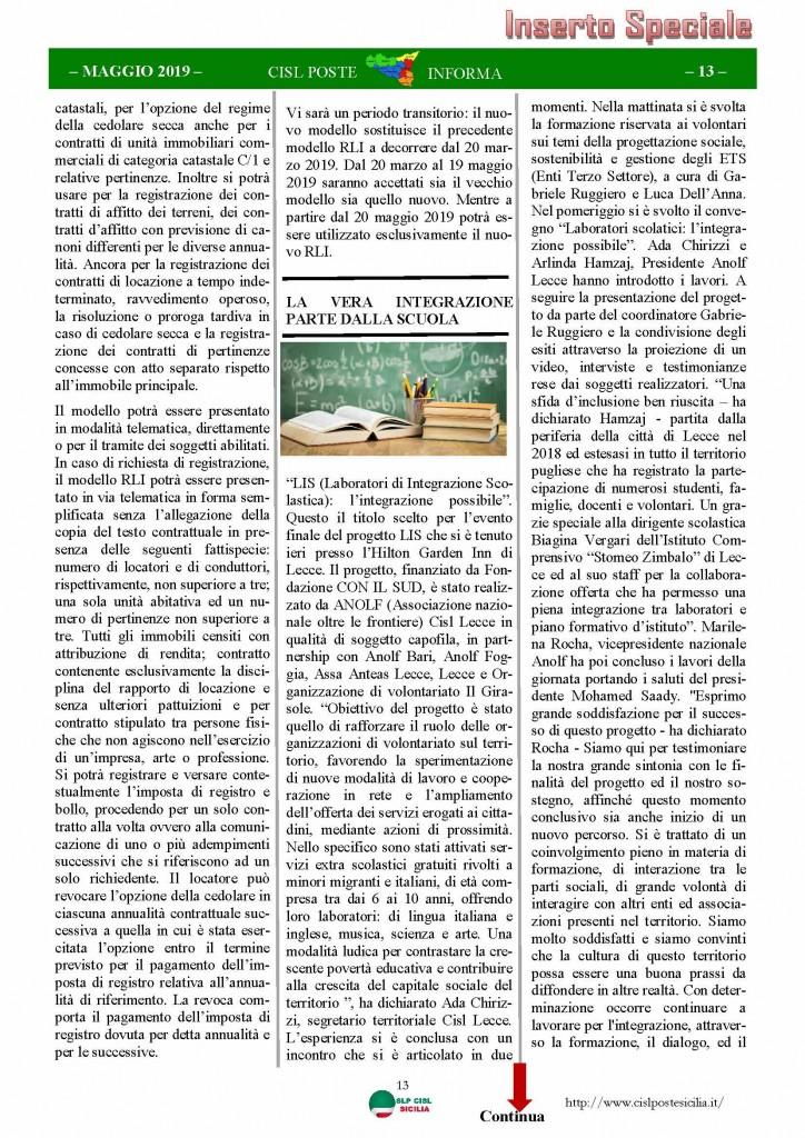Cisl Poste Sicilia Informa maggio 2019_Pagina_13