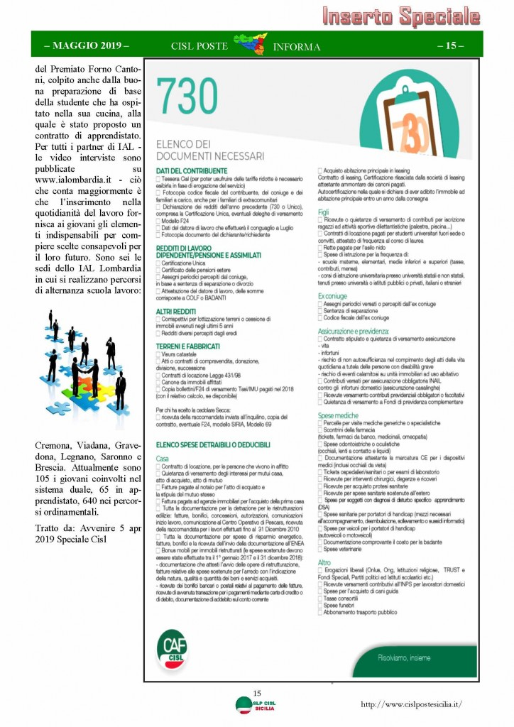 Cisl Poste Sicilia Informa maggio 2019_Pagina_15