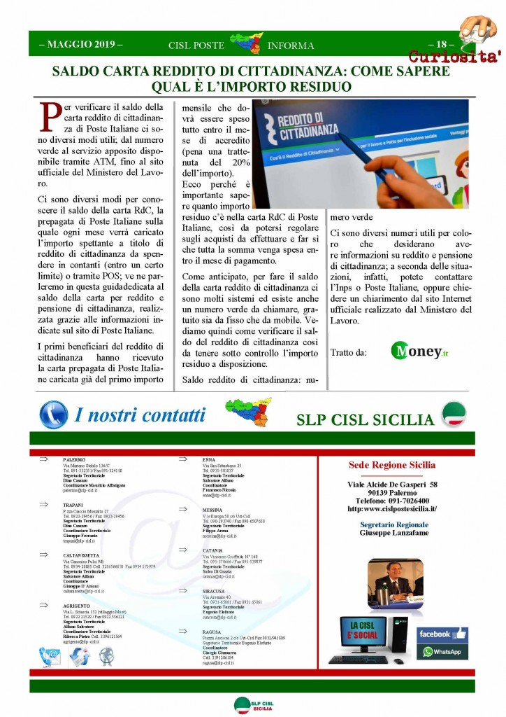 Cisl Poste Sicilia Informa maggio 2019_Pagina_18