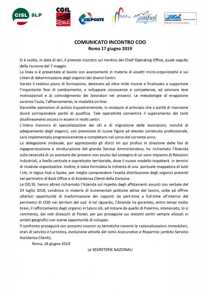 COMUNICATO UNITARIO COO 17GIUGNO