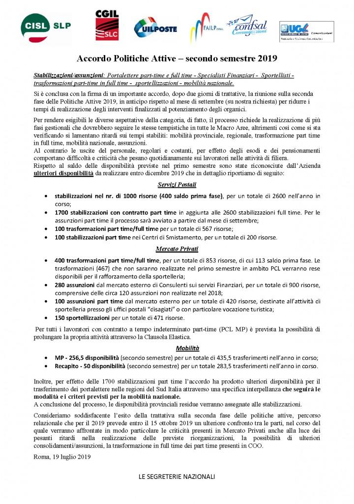 comunicato politiche attive accordo 19lug2019