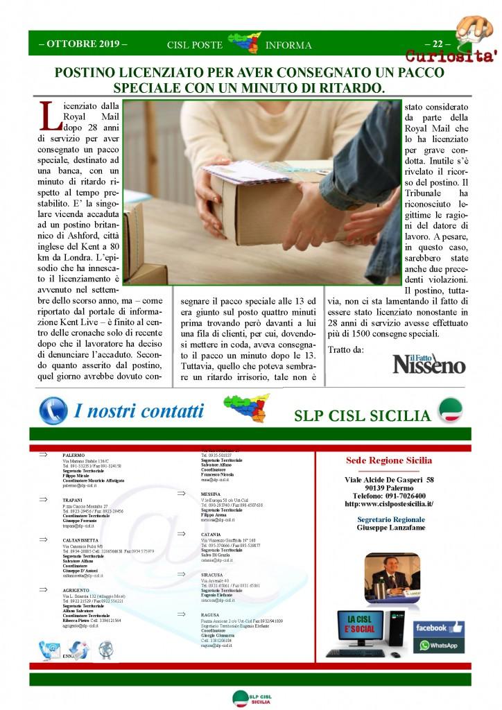 Cisl Poste Sicilia Informa ottobre 2019_Pagina_22