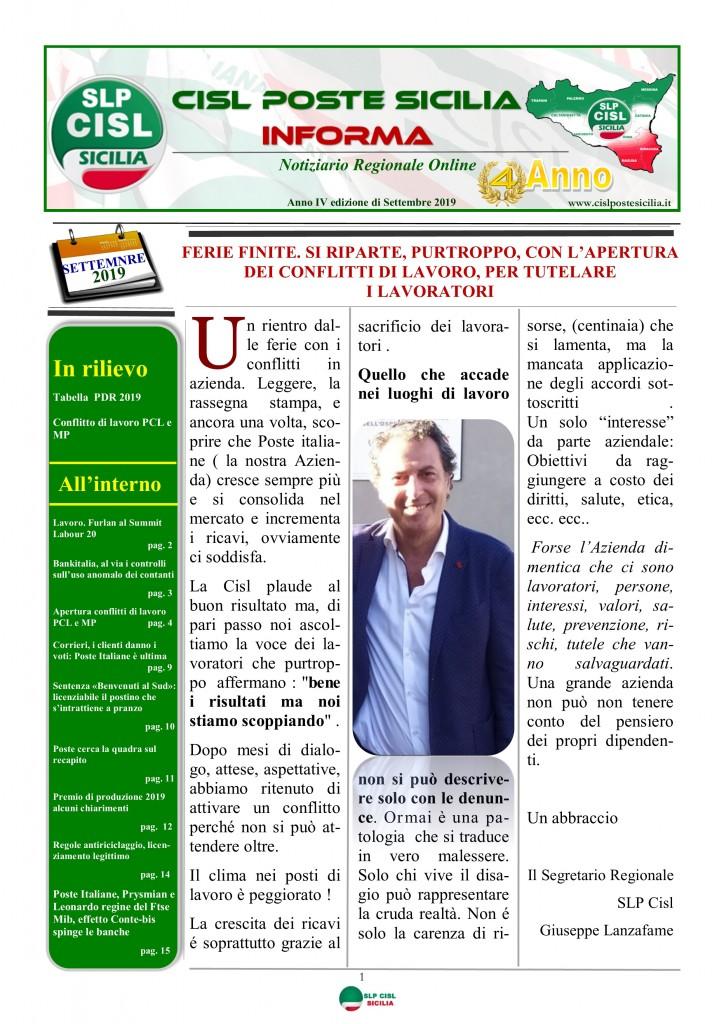 Cisl Poste Sicilia Informa settembre 2019