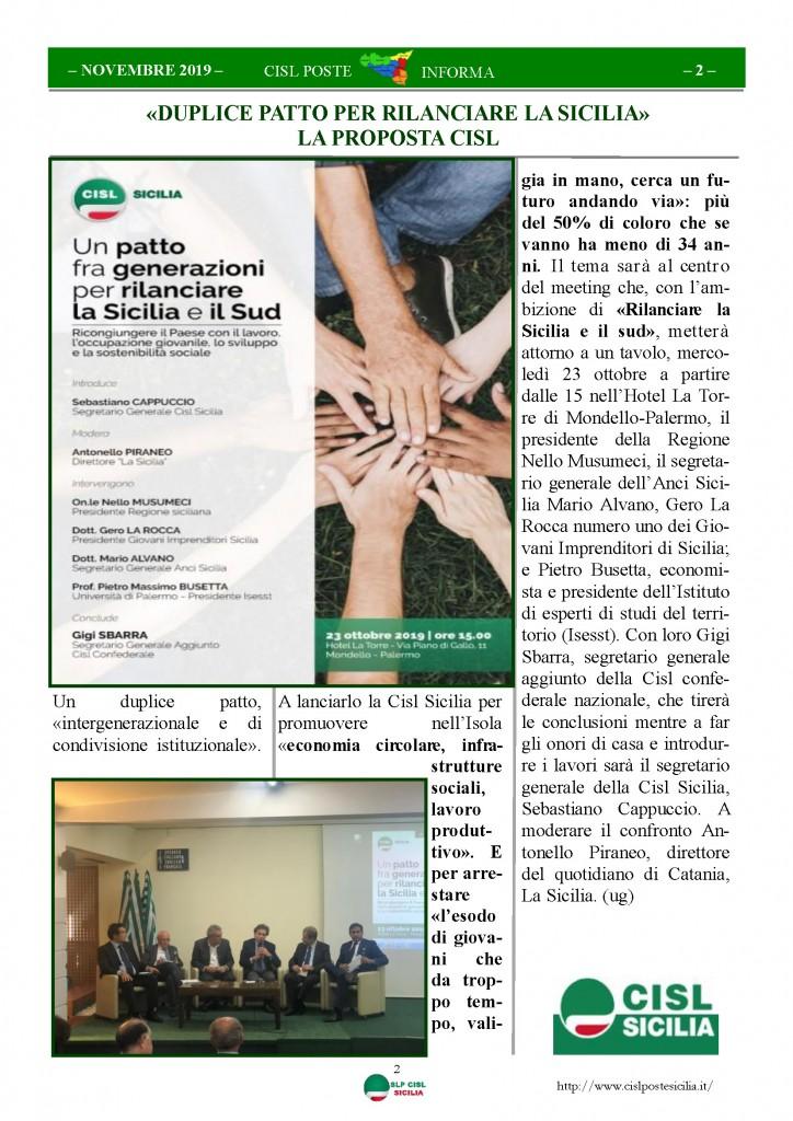 Cisl Poste Sicilia Informa novembre 2019_Pagina_02