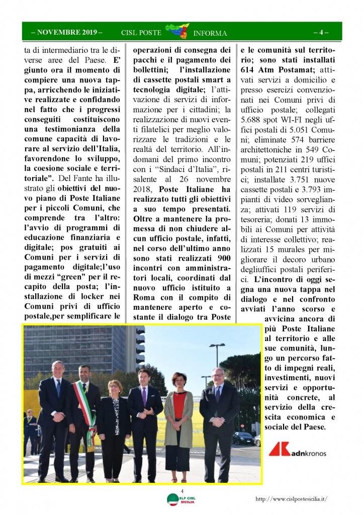 Cisl Poste Sicilia Informa novembre 2019_Pagina_04