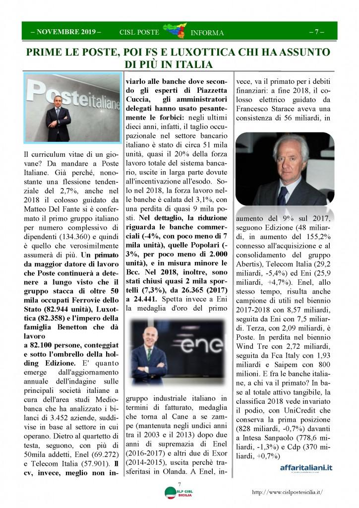 Cisl Poste Sicilia Informa novembre 2019_Pagina_07