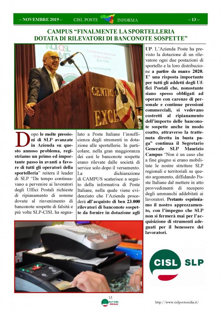 Cisl Poste Sicilia Informa novembre 2019_Pagina_13