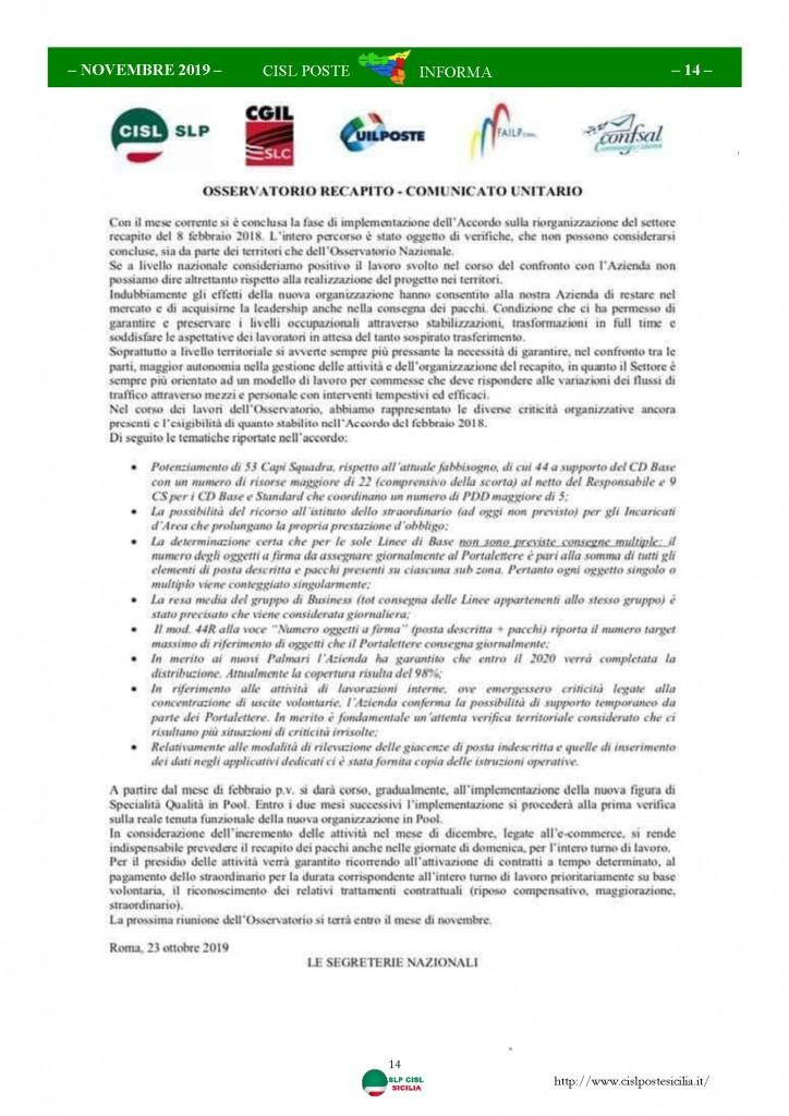 Cisl Poste Sicilia Informa novembre 2019_Pagina_14