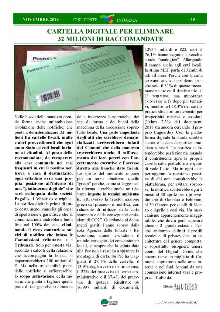 Cisl Poste Sicilia Informa novembre 2019_Pagina_15
