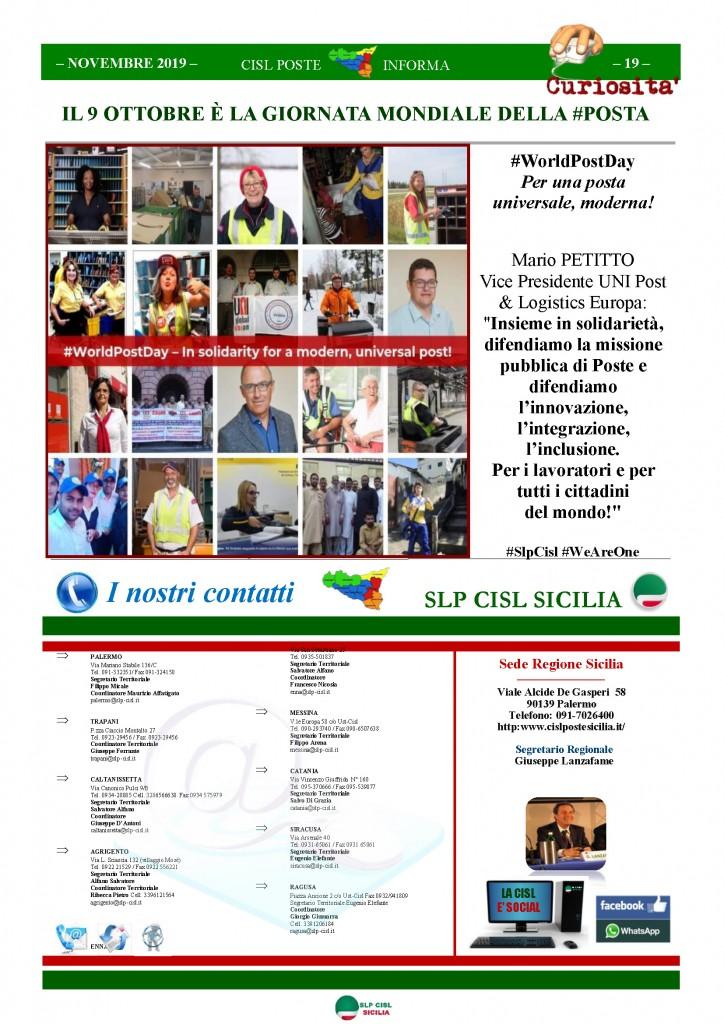 Cisl Poste Sicilia Informa novembre 2019_Pagina_19