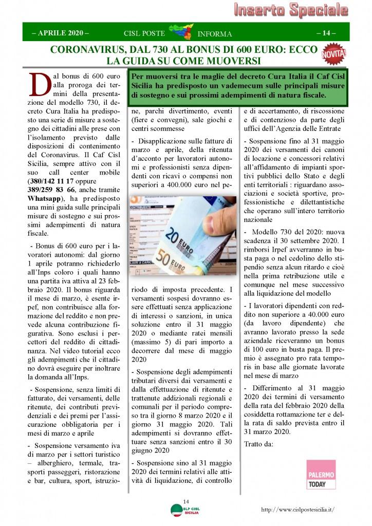 Cisl Poste Sicilia Informa Aprile 2020 _Pagina_14