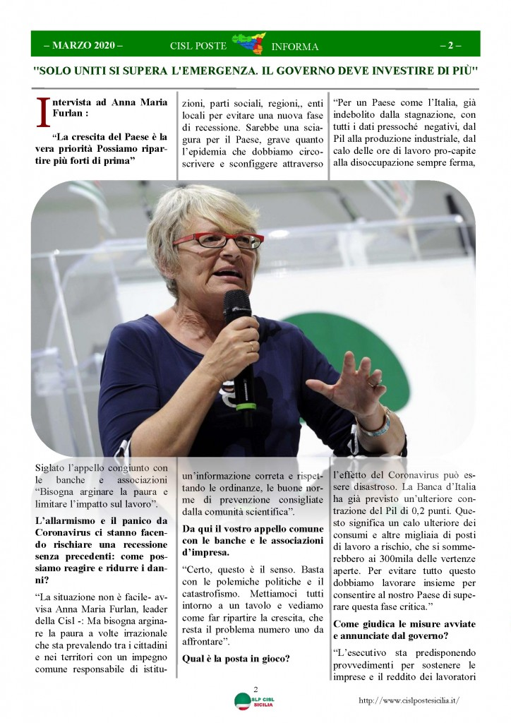 Cisl Poste Sicilia Informa Marzo 2020 _Pagina_02