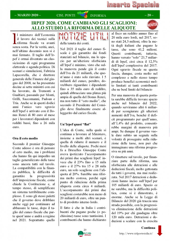 Cisl Poste Sicilia Informa Marzo 2020 _Pagina_20