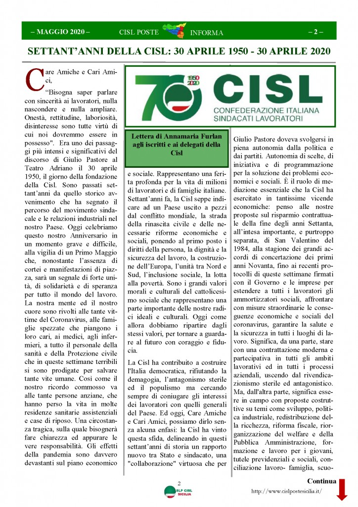 Cisl Poste Sicilia Informa Maggio 2020 _Pagina_02