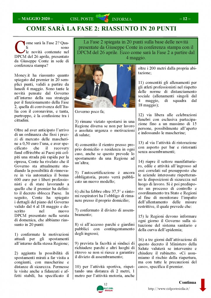 Cisl Poste Sicilia Informa Maggio 2020 _Pagina_12