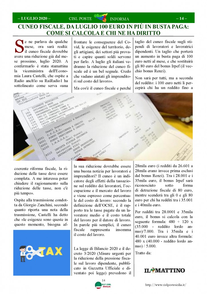 Cisl Poste Sicilia Informa Luglio 2020 _Pagina_14