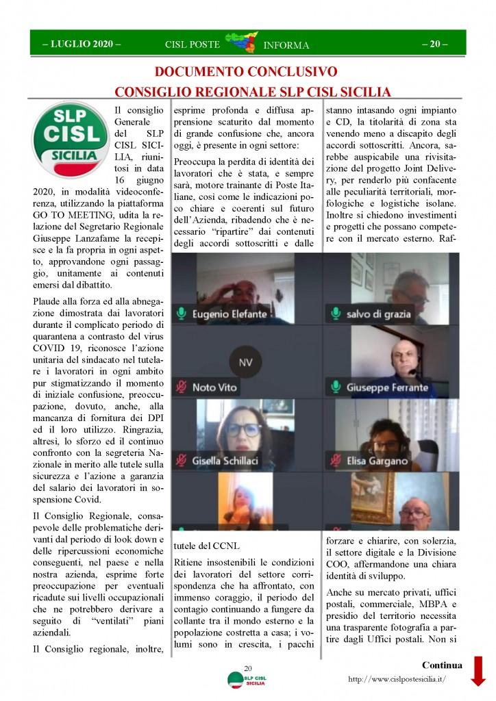 Cisl Poste Sicilia Informa Luglio 2020 _Pagina_20