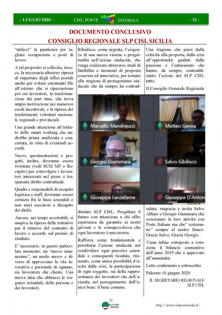 Cisl Poste Sicilia Informa Luglio 2020 _Pagina_21