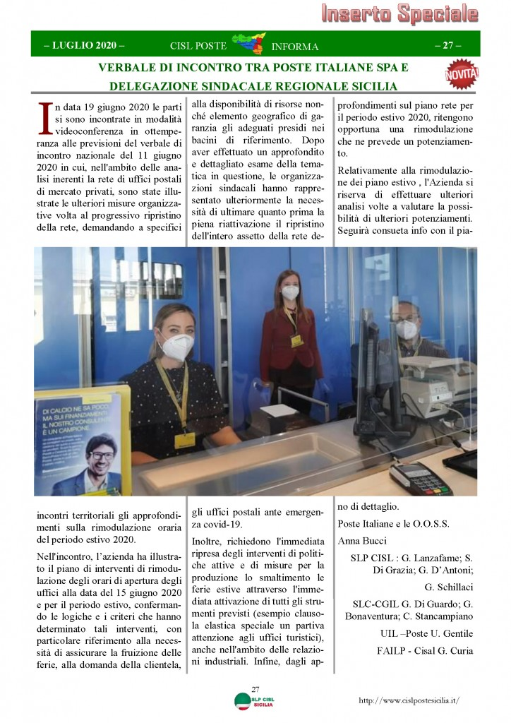 Cisl Poste Sicilia Informa Luglio 2020 _Pagina_27