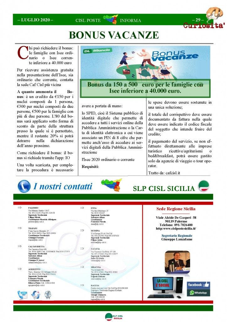 Cisl Poste Sicilia Informa Luglio 2020 _Pagina_29