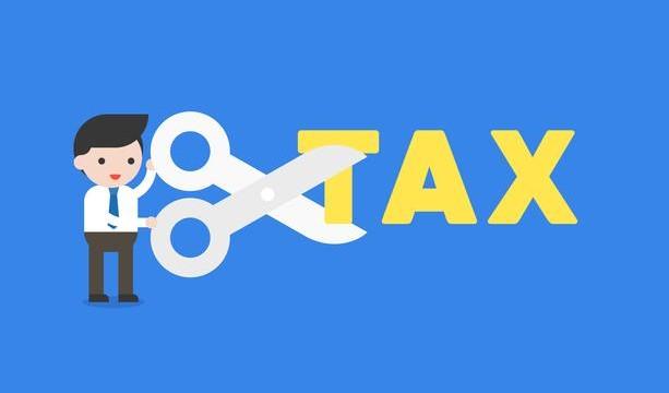 vector-businessman-holding-scissors-to-cut-tax-alphabet-cost-reduction-concept