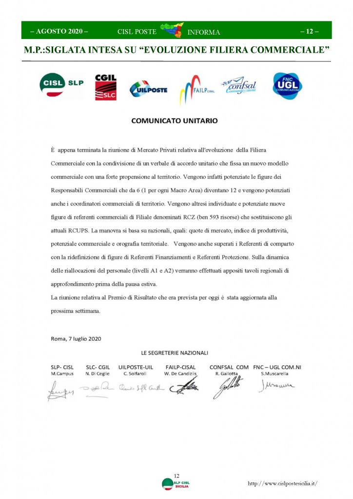 Cisl Poste Sicilia Informa Agosto 2020 _Pagina_12
