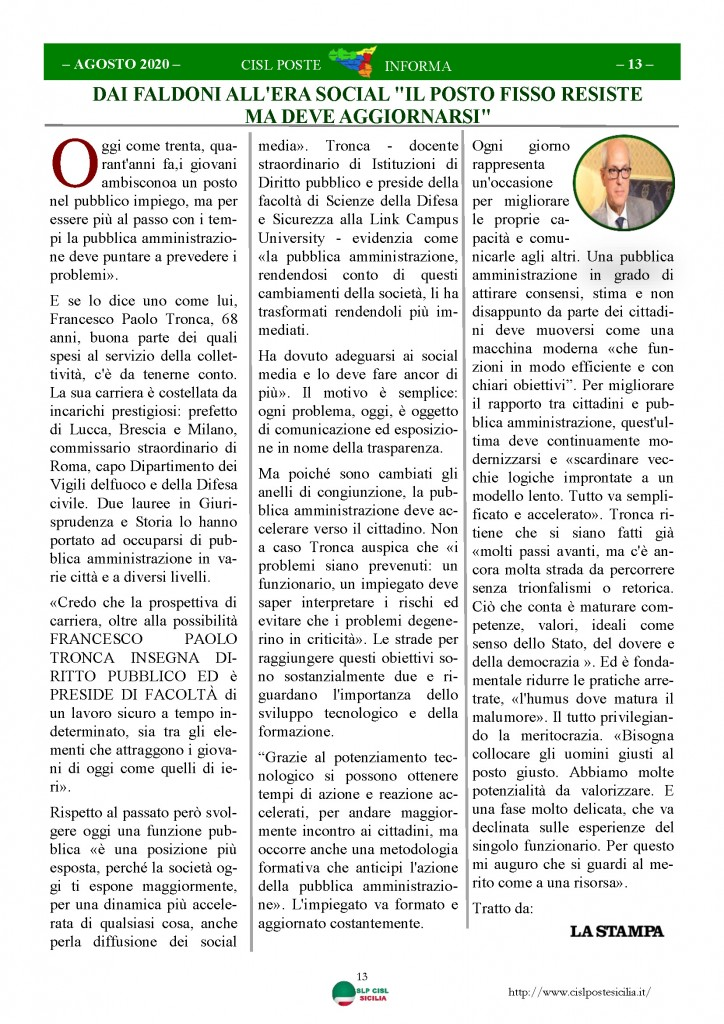 Cisl Poste Sicilia Informa Agosto 2020 _Pagina_13