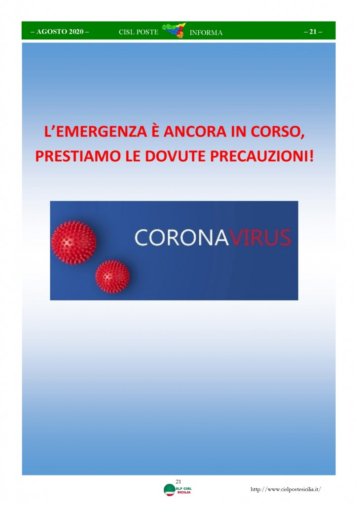 Cisl Poste Sicilia Informa Agosto 2020 _Pagina_21