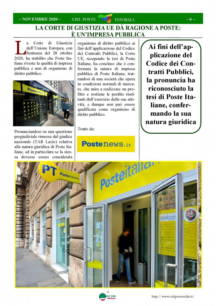 Cisl Poste Sicilia Informa Novembre 2020_Pagina_06