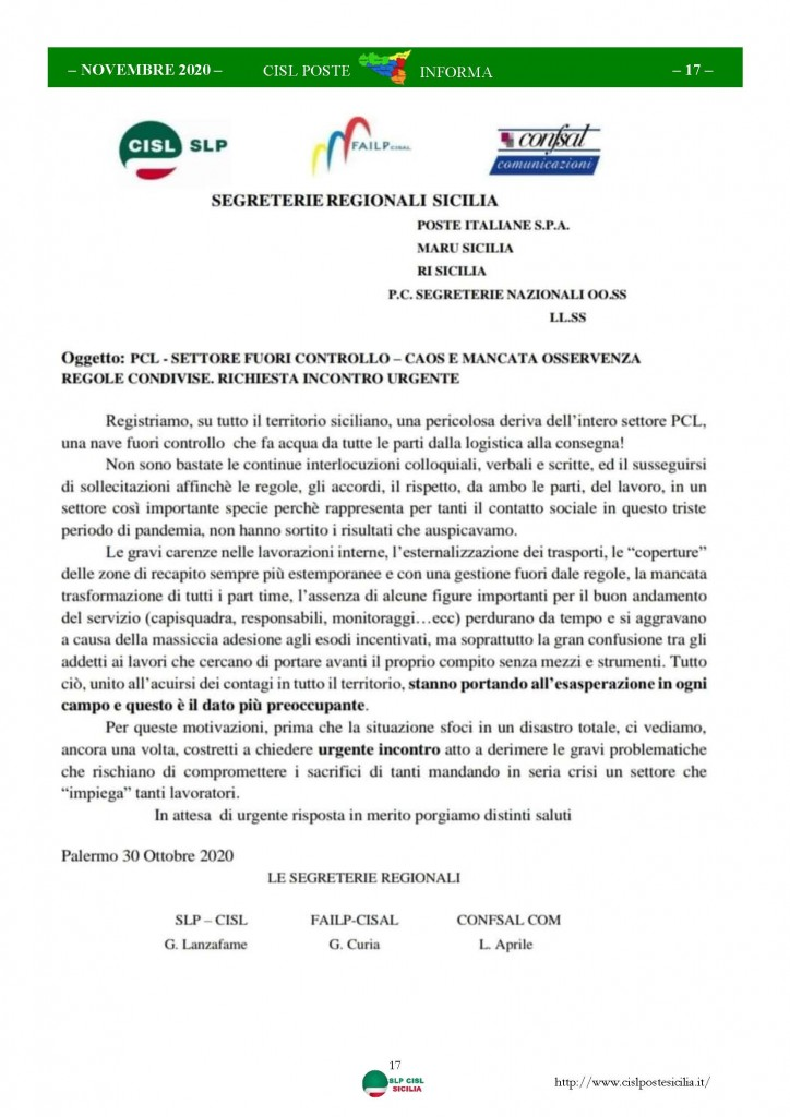 Cisl Poste Sicilia Informa Novembre 2020_Pagina_17