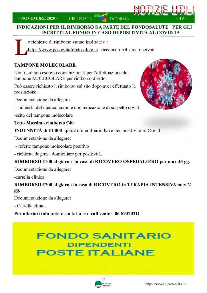 Cisl Poste Sicilia Informa Novembre 2020_Pagina_19