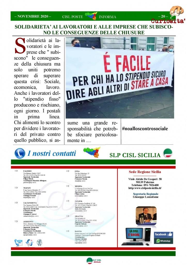 Cisl Poste Sicilia Informa Novembre 2020_Pagina_20