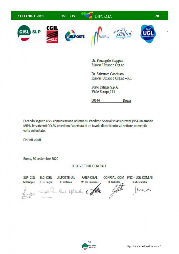 Cisl Poste Sicilia Informa ottobre 2020 _Pagina_20