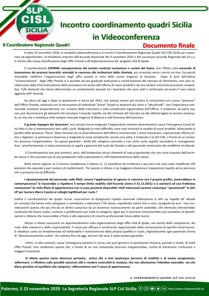Verbale incontro coordinamento quadri sicilia in video conferenza novembre 2020