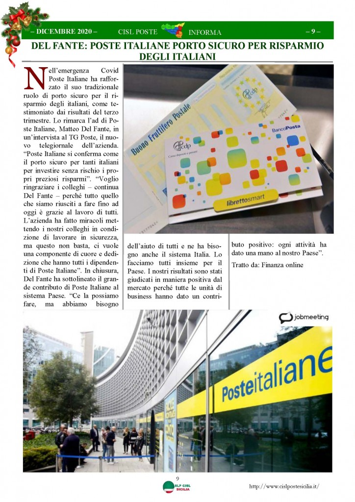 Cisl Poste Sicilia Informa Dicembrex 2020_Pagina_09