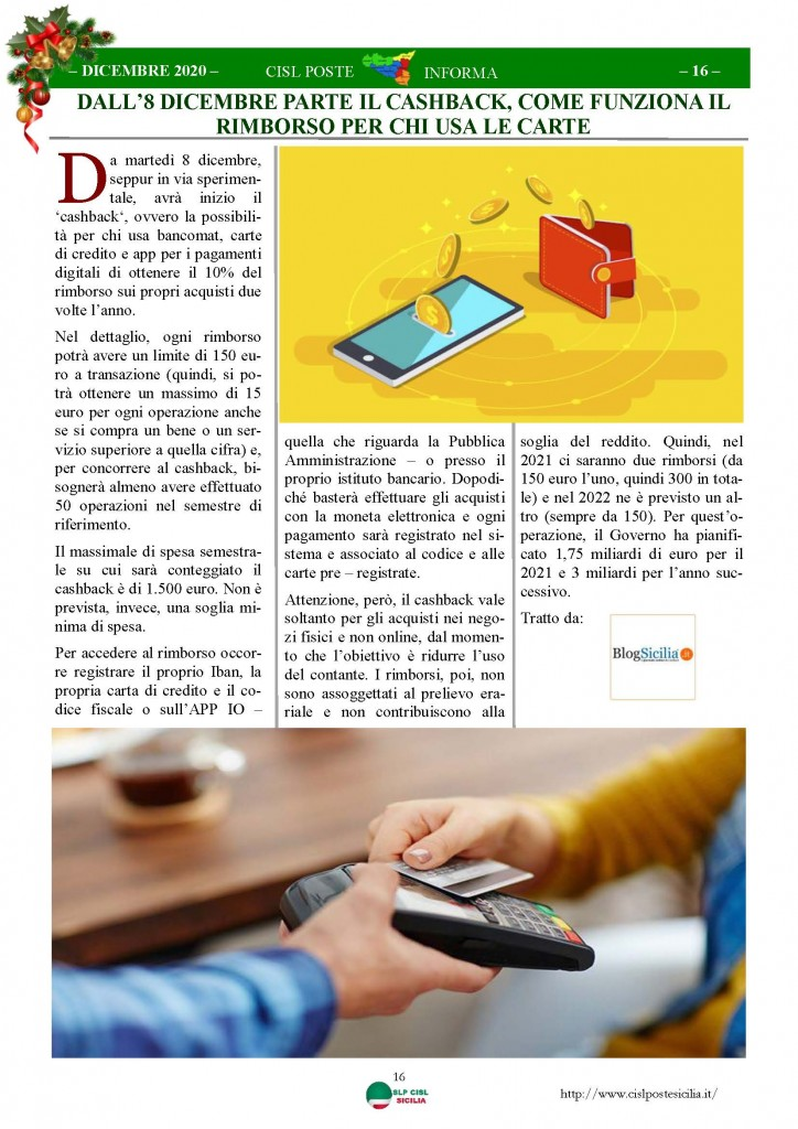 Cisl Poste Sicilia Informa Dicembrex 2020_Pagina_16