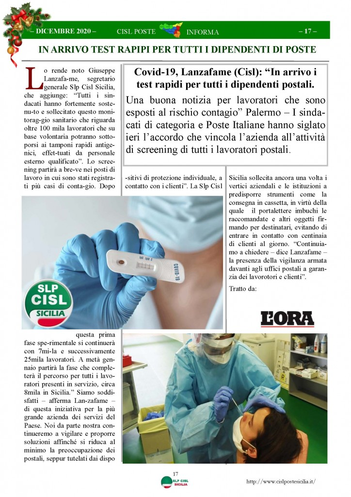 Cisl Poste Sicilia Informa Dicembrex 2020_Pagina_17