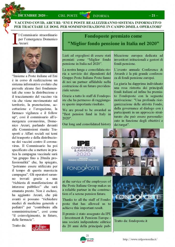Cisl Poste Sicilia Informa Dicembrex 2020_Pagina_21
