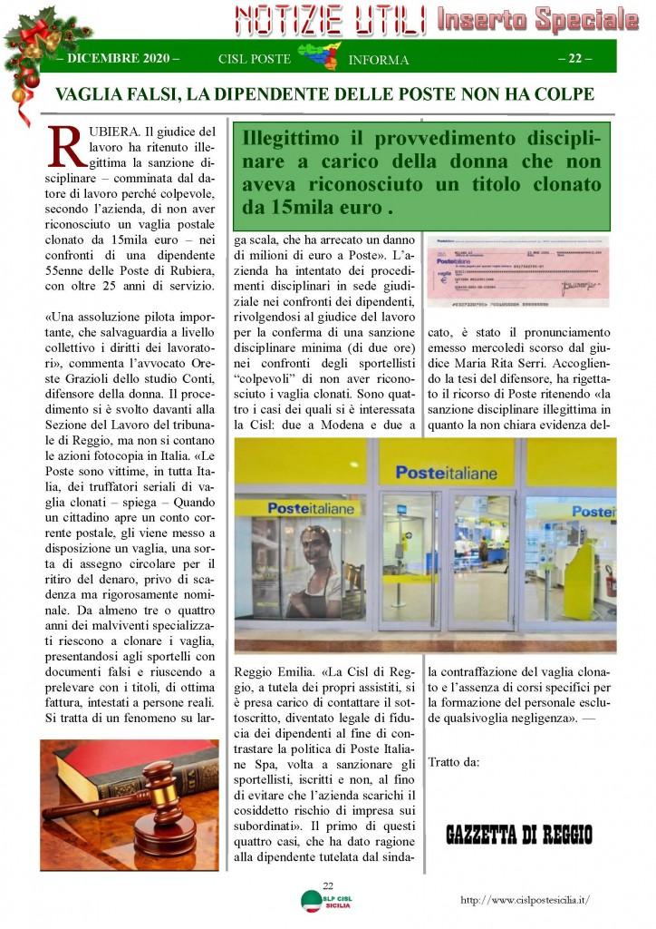 Cisl Poste Sicilia Informa Dicembrex 2020_Pagina_22