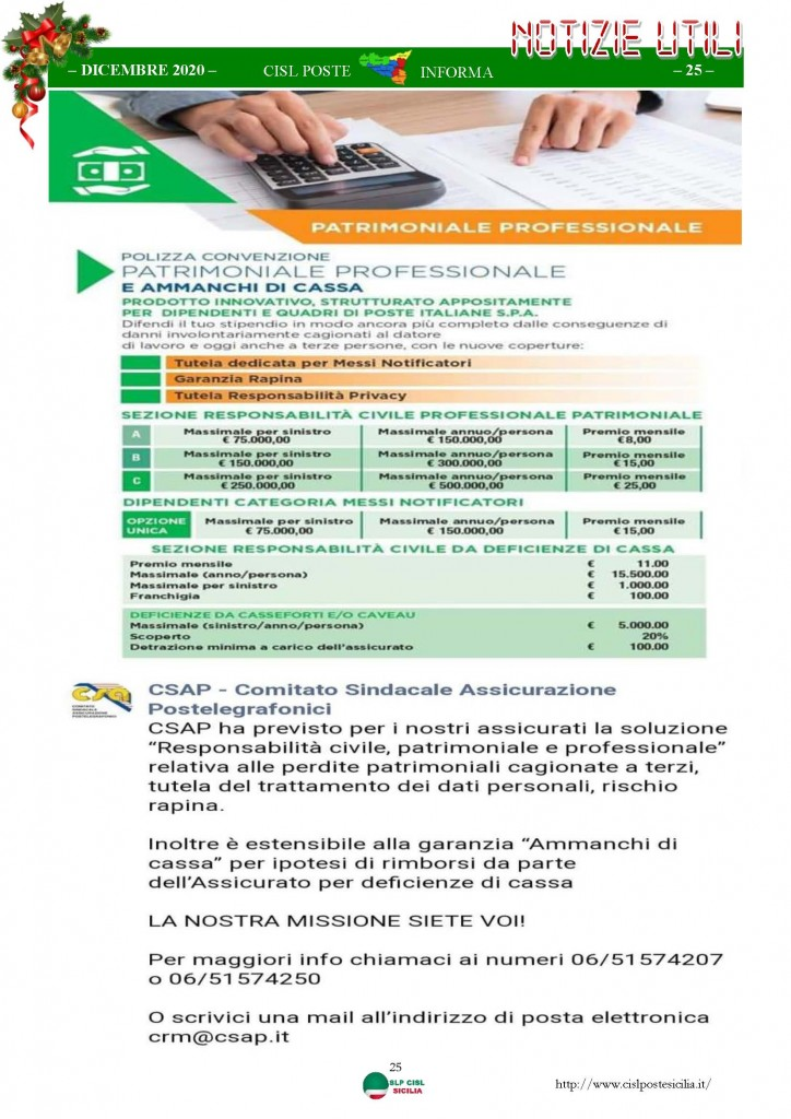 Cisl Poste Sicilia Informa Dicembrex 2020_Pagina_25