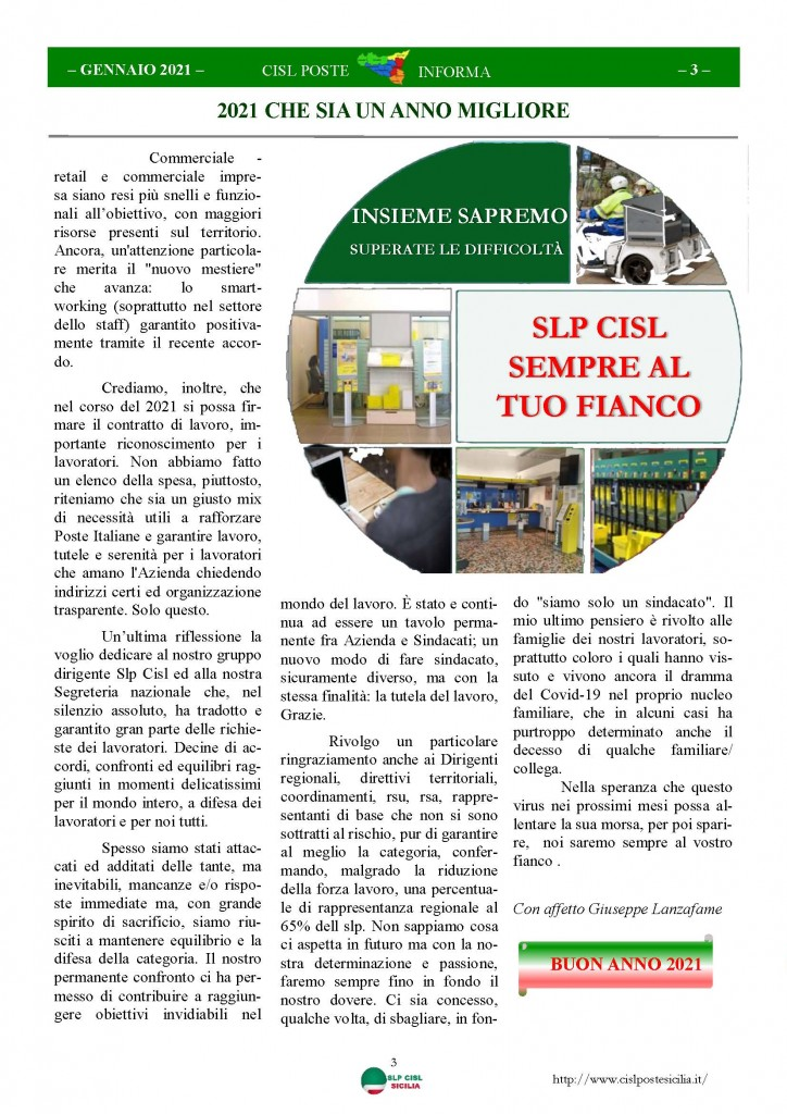 Cisl Poste Sicilia Informa Gennaio 2021_Pagina_03