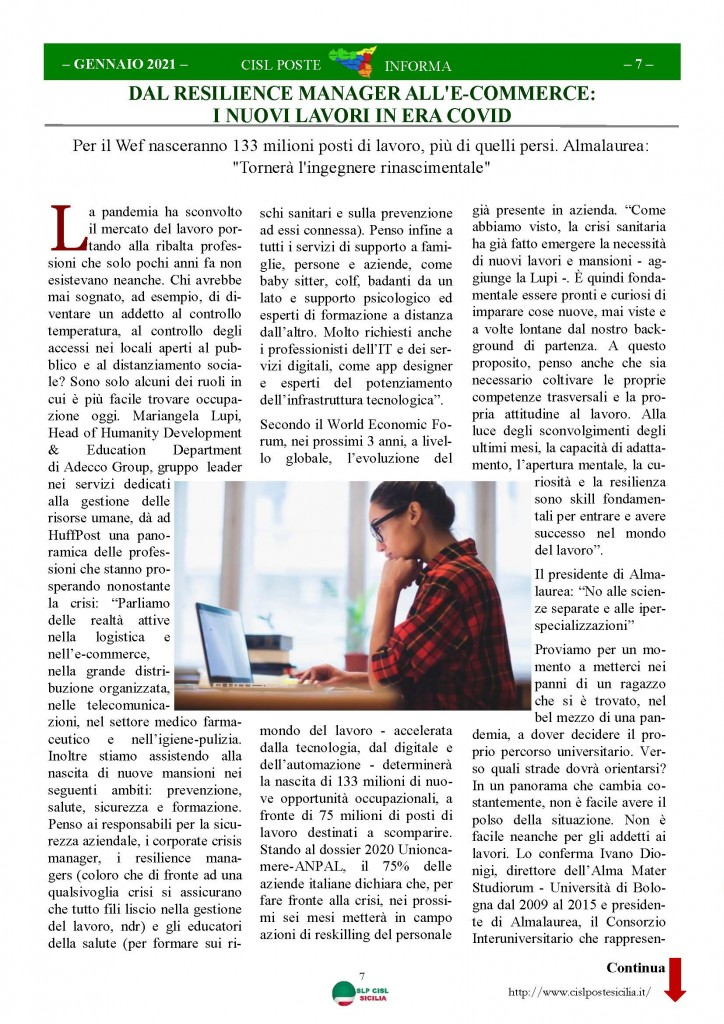 Cisl Poste Sicilia Informa Gennaio 2021_Pagina_07