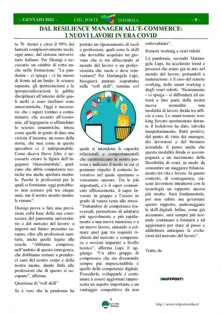 Cisl Poste Sicilia Informa Gennaio 2021_Pagina_08