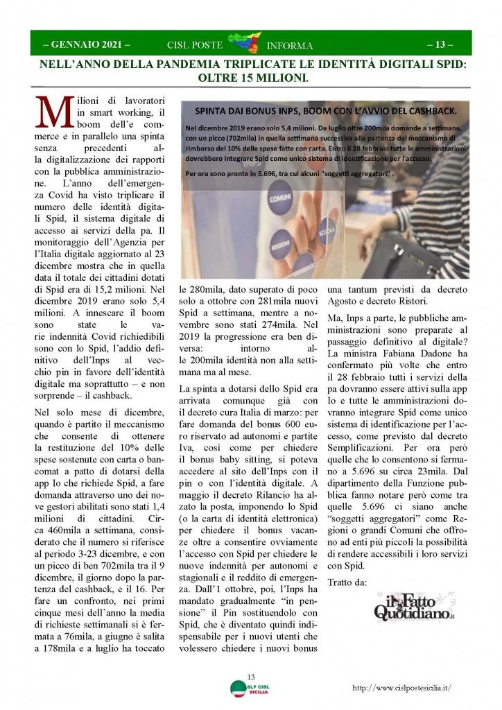 Cisl Poste Sicilia Informa Gennaio 2021_Pagina_13