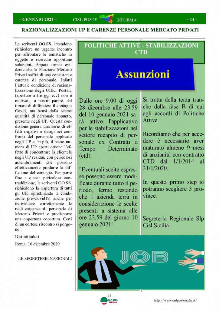 Cisl Poste Sicilia Informa Gennaio 2021_Pagina_14