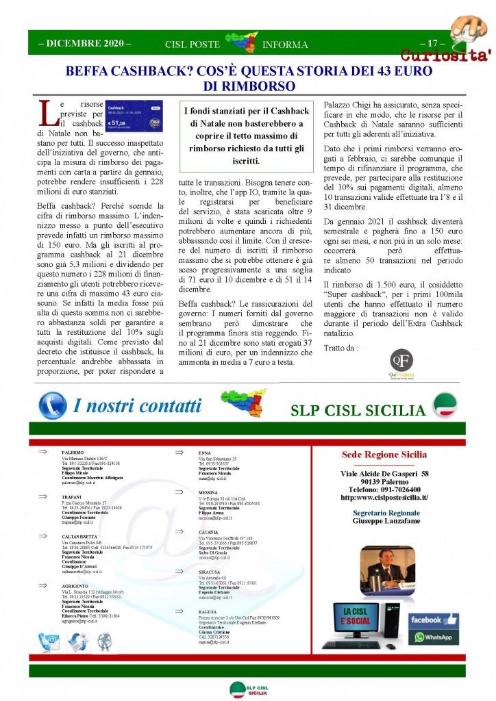 Cisl Poste Sicilia Informa Gennaio 2021_Pagina_17
